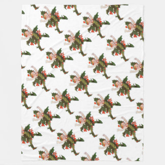 Holly Christmas Flower Child Cute Funny Floral Fleece Blanket