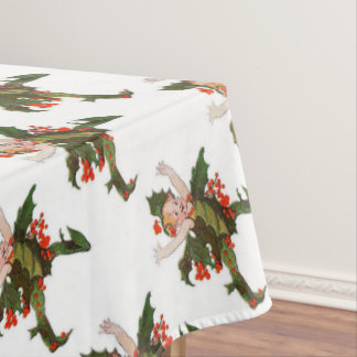 Holly Christmas Flower Child Cute Funny Floral Tablecloth