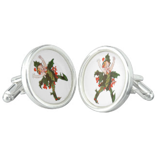 Holly Christmas Flower Child Cute Vintage Floral Cufflinks
