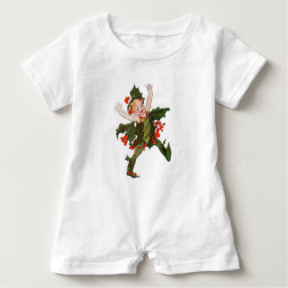 Holly Christmas Flower Child Funny Floral Vintage Baby Romper