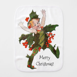 Holly Christmas Flower Child Funny Floral Vintage Burp Cloth