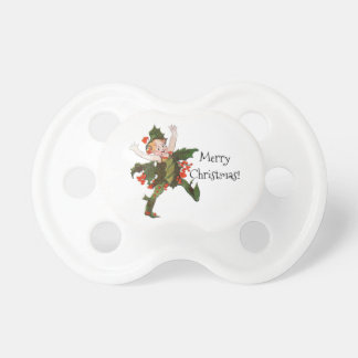 Holly Christmas Flower Child Funny Floral Vintage Pacifier