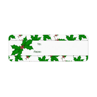 Holly Christmas Gift Stickers Return Address Label