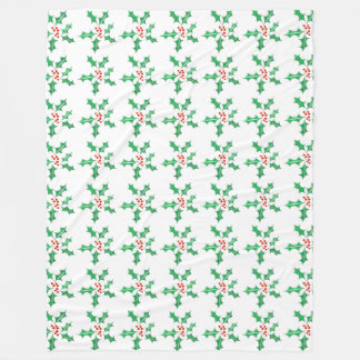 Holly Christmas Retro Leaf & Berry Custom Holiday Fleece Blanket