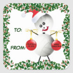 Holly Christmas Volleyball Gift Tag Square Sticker