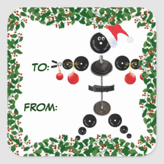 Holly Christmas Weightlifter Gift Tag