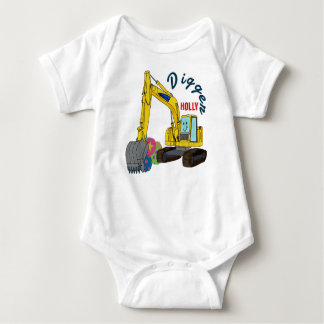 Holly construction vehicle excavator shovel car baby bodysuit