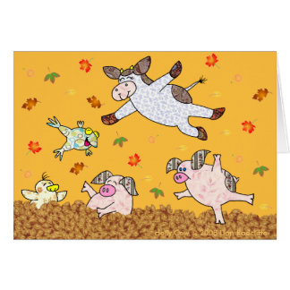 Holly Cow, Leaf Jumping Time! Card