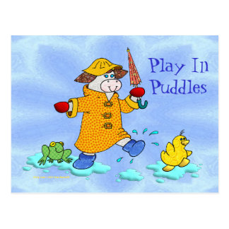 Holly Cow, Play In Puddles Postcard