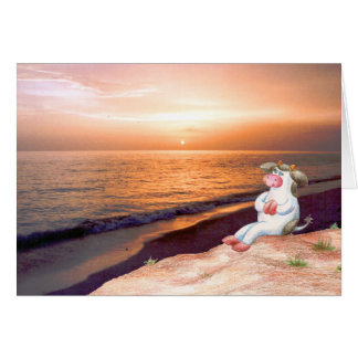 Holly Cow Watching The Sunset (No Verse inside) Card