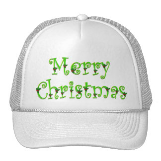 Holly Decked Merry Christmas Caps Trucker Hat
