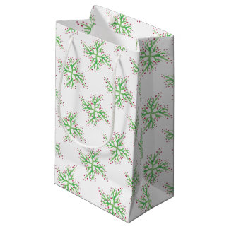 holly design gift wrapping small gift bag