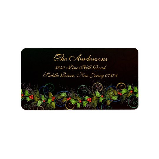 Holly Flourish Christmas Address Label