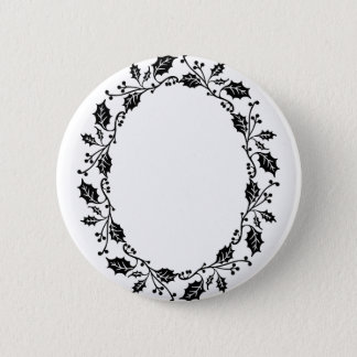 Holly Frame 2 Inch Round Button