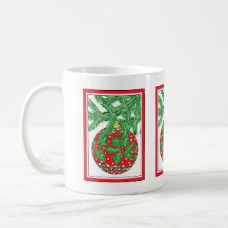 Holly Glass Ball Ornament on Christmas Tree Coffee Mug