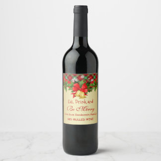 Holly, golden bells and snowflakes Christmas Wine Label