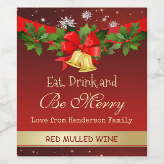 Holly, golden bells and snowflakes Christmas wine Wine Label