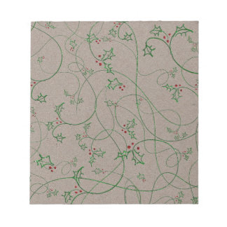HOLLY GREEN BEIGE BACKGROUNDS WALLPAPERS TEMPLATES NOTEPAD
