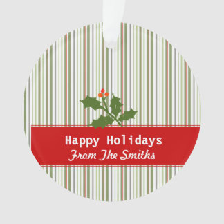 Holly Green Branch Stripped  Holiday Greetings Ornament