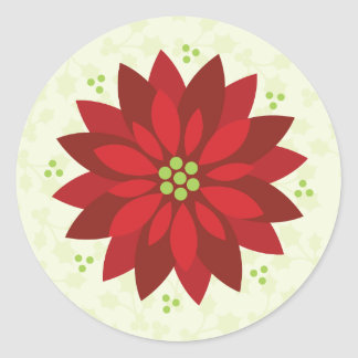 Holly Holiday poinsettia sticker