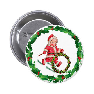 HOLLY HOOP & SANTA SUIT by SHARON SHARPE 2 Inch Round Button