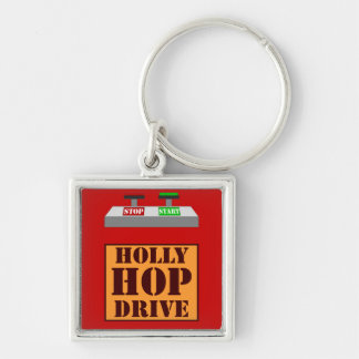 Holly Hop Drive Silver-Colored Square Keychain