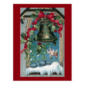 Holly in the Belfry Vintage Christmas Postcard
