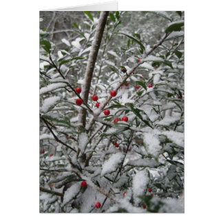 """""""Holly in the snow"""" greeting card. Card"""