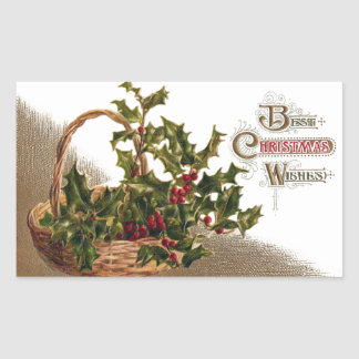 Holly in Wicker Basket Vintage Christmas