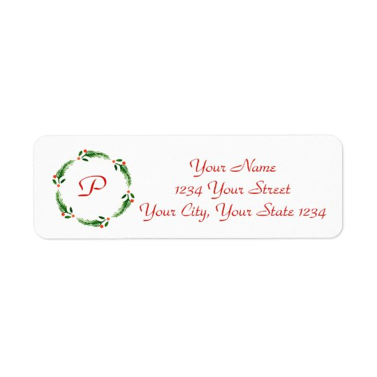 Holly Initial Wreath Address Label