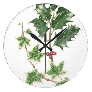 Holly & Ivy Botanical Watercolour Clock