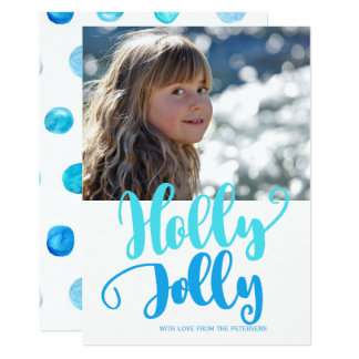 Holly jolly aqua blue watercolor script photo card