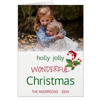 Holly Jolly Christmas Candy Cane Photo Template Card