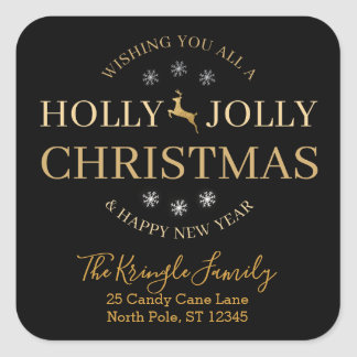 Holly Jolly Christmas Happy New Year Address Square Sticker