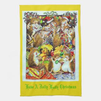 Holly Jolly Christmas Hedgehogs Tea Towel