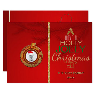 Holly Jolly Christmas Holiday Photo Card 2 Pics