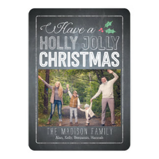 Holly Jolly Christmas Holiday Photo Cards