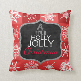 Holly Jolly Christmas Holiday Snowflakes Chalk Red Throw Pillow