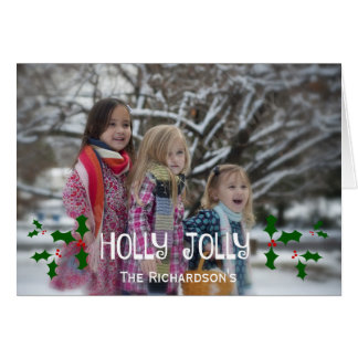 Holly Jolly Christmas Holly Photo Card