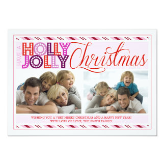 Holly Jolly Christmas Modern Striped Photo Card