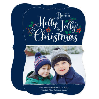 Holly Jolly Christmas   Navy Photo Card Greeting