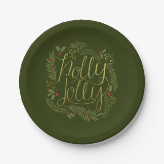 Holly Jolly Christmas Paper Plates 7 Inch Paper Plate
