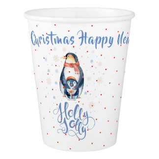 Holly Jolly Christmas Penguins Family Paper Cup