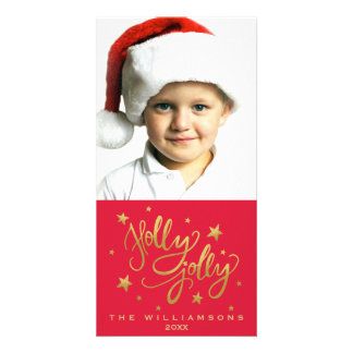 Holly Jolly Christmas Photo | Whimsical Red Gold Customized Photo Card