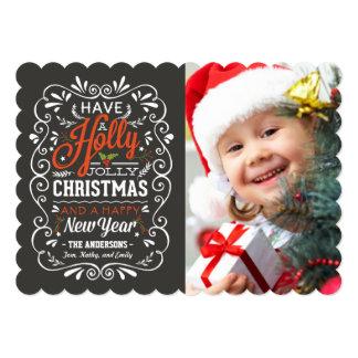 Holly Jolly Christmas Rustic Chalkboard Photo Card