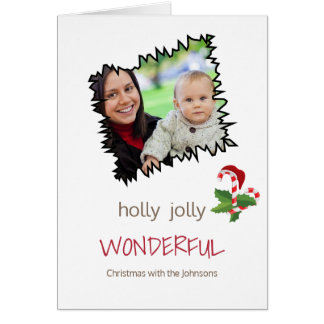 Holly Jolly Christmas Single Photo Template Card