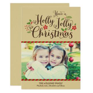 Holly Jolly Christmas   Tan Photo Card Greeting