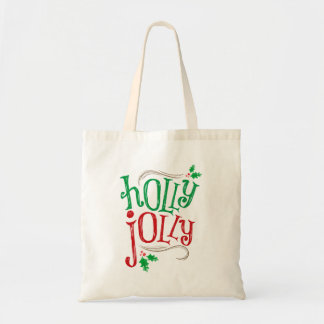 Holly Jolly Christmas Tote Bag in Red and Green