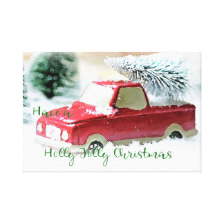 Holly Jolly Christmas Truck Canvas Wall Art
