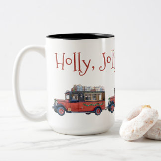 Holly Jolly Christmas Vintage Bus Christmas Two-Tone Coffee Mug